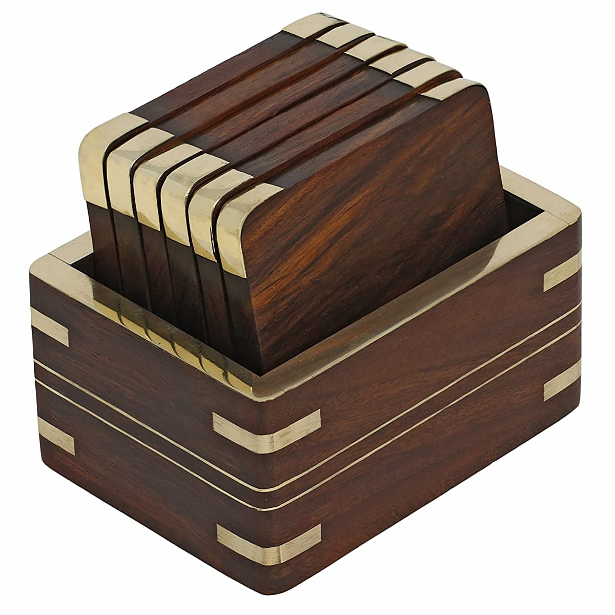 Wooden Tea Coasters and Holder Set With Golden Brass Decoration
