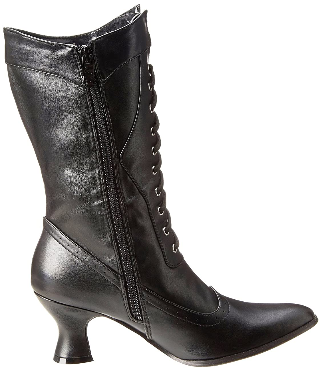 Ellie Shoes Women's Amelia Victorian Boots Black Polyurethane Vintage Ankle Boot with Zipper 1