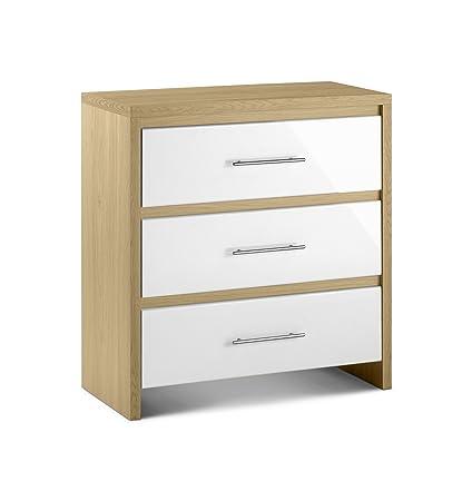 Julian Bowen Stockholm-Cassettiera con 3 cassetti, in legno di quercia, colore: bianco lucido