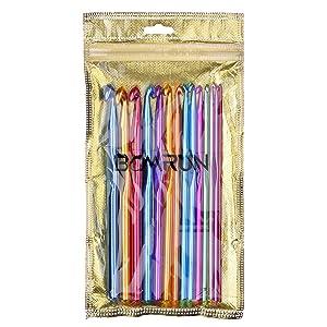 BCMRUN 14 Piece Aluminum Crochet Hooks Knitting Needles Craft Yarn, 2-10mm, Multicolor