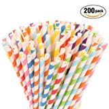 Hiware 200-Pack Biodegradable Paper Straws - 8 Different Colors Rainbow Stripe Paper Drinking Straws - Bulk Paper Straws for Juices, Shakes, Smoothies, Party Supplies Decorations (Color: colorful, Tamaño: Paper Straws)