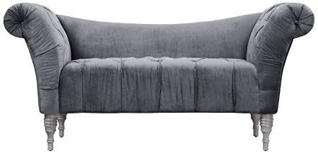 TOV Furniture Shev Velvet Settee, Grey