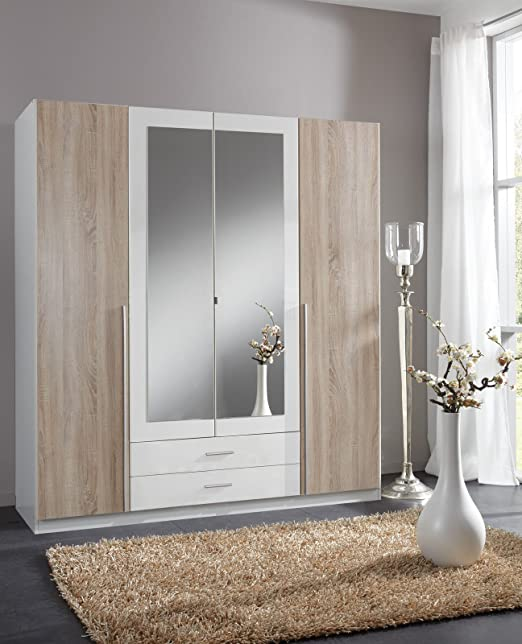 German Skate Mirror Mirrored Wardrobe White & Oak (4 Door 180cm)