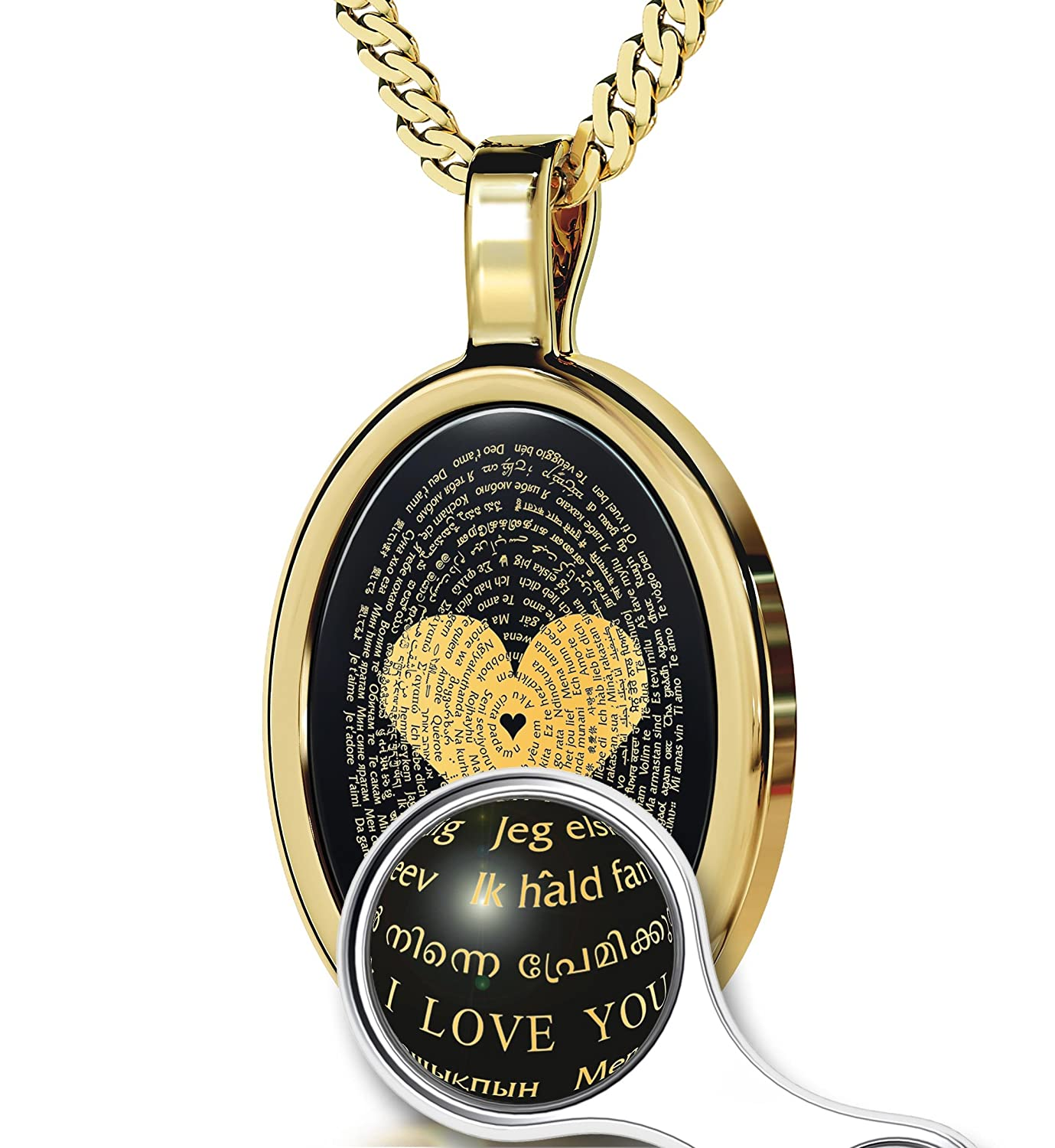 Gold Plated Love Jewelry – I Love You Necklace In 120 Languages Inscribed in 24kt Gold on Black Onyx Stone – Heart Pendant – Unique Gifts for Women