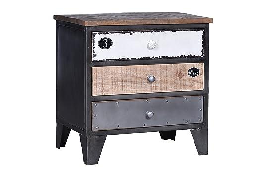 SIT-Möbel 309795Shelf Retro, 53x 42x 175cm, Metal Body with Mango Wood Finish Black, Front Door