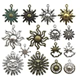 Celestial Sun Charm-100g (about 45-50pcs) Craft Supplies Sun Charms Pendants for Crafting, Jewelry Findings Making Accessory For DIY Necklace Bracelet M6 (Sun Collection) (Color: Sun Collection)