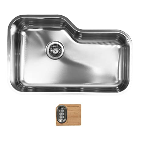 Ukinox DX760.C Modern Undermount Single Bowl Stainless Steel Kitchen Sink with Cutting Board
