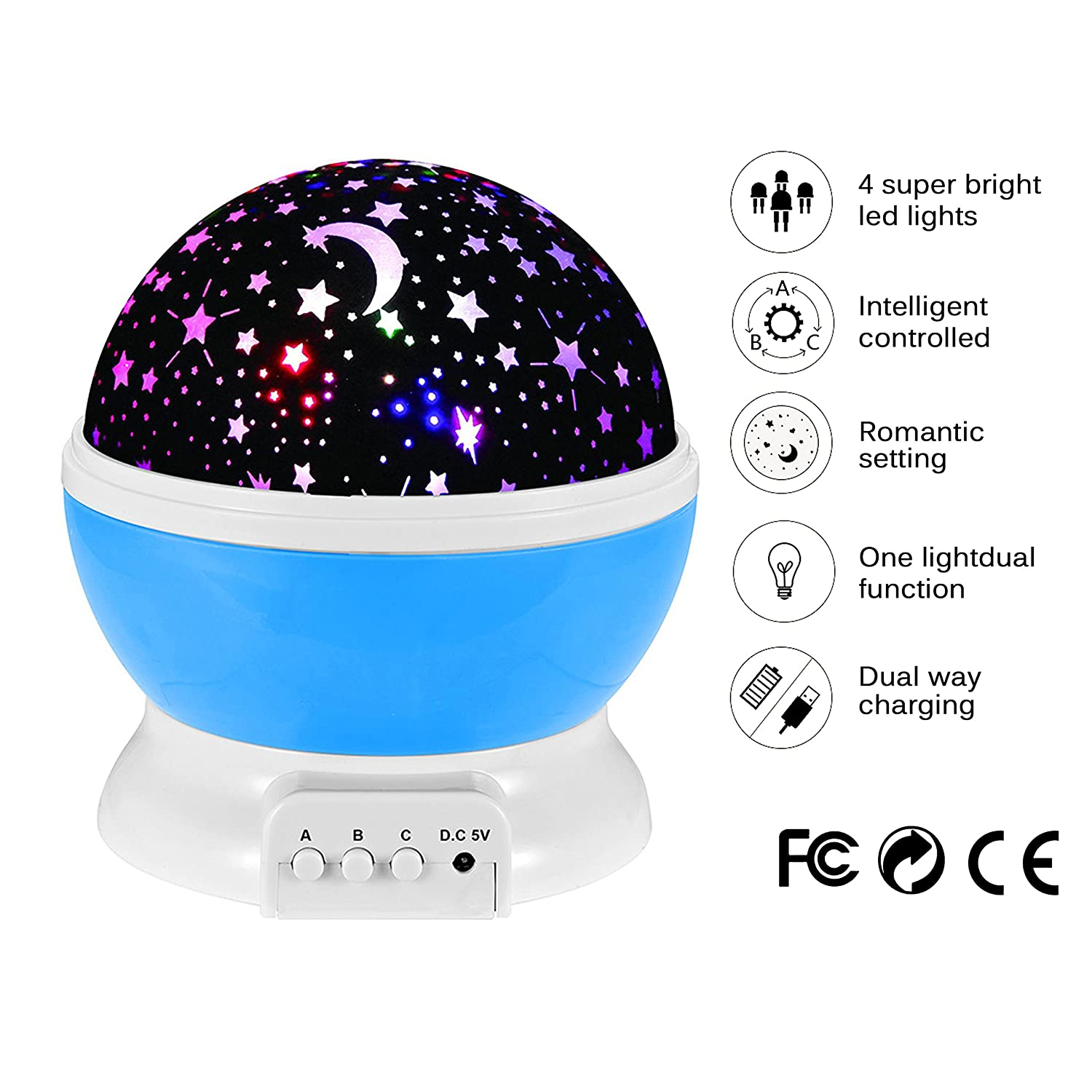 Night Lighting Lamp Projector by ZoroPlan ( 4 LED Beads, 3 Model Light, 3.3FT USB Cord ) Romantic Rotating Cosmos Star Sky Moon Projector for Children Kids Bedroom (Blue)