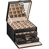 Glenor Co Earring Organizer Holder - 50 Small & 4 Large Slots Classic Jewelry box with Drawer & Modern Closure, Mirror, 3 Trays for All Sizes Earrings, Ring or Chain Storage - PU Leather Case - Black (Color: Black)