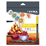 Lyra Non-Toxic Water Based Aqua Brush Duo Marker, Conical/Fine Tip, Assorted Colors, Set of 24 (Color: Assorted)