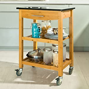 SoBuy FKW28 SCH Bamboo Kitchen Cabinet, Kitchen Island, Serving Trolley with with Granite Countertop and Wheels,L58cmxW40cmxH85cm       Customer reviews and more information