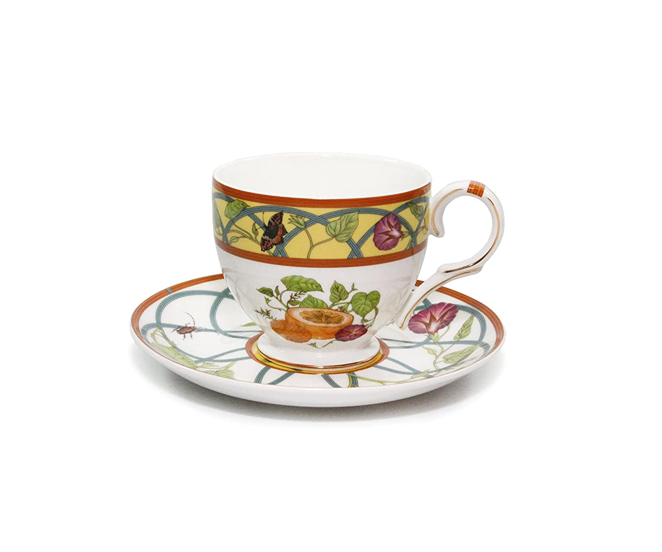 Royal Porcelain 15-Piece Antique Citrus Yellow Vintage Dining Tea Cup Set, Service for 6, Handmade & Hand-Painted, HQ Bone China 1