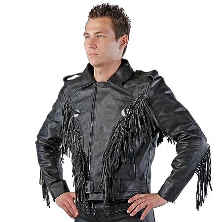 Lemoko rockerstyle veste de moto en cuir à franges taille taille s à 4XL
