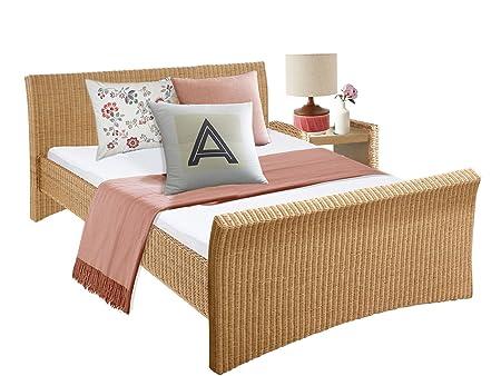 Bett NINA in 140 cm order 180 cm aus Rattan fur Schlafzimmer (140, naur)