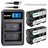 Kastar Battery X2 & LCD Dual Charger for Sony NP-FM500H Alpha SLT A57 A58 A65 A77 A99 A77V A77II DSLR-A100 A200 A350 A450 A500 A550 A700 A850 A900 Alpha a99 II CLM-V55 DSLR a100 a200 a560 a580 a58 (Tamaño: 1 LCD Dual Charger + 2 Batteries)