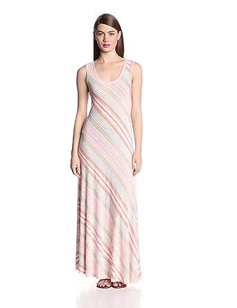 Calvin Klein Women's Sleeveless Stripe Maxi Dress, Peach/Multi, 2