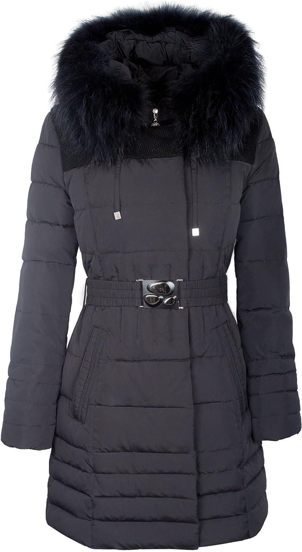 "OM-1035 Damen Daunenmantel ""GLORY"" mit Echtfellkapuze schwarz online kaufen"