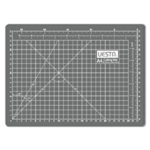 UESTA A4 (12L x 9W Inch) (300 x 220 mm) 5 Layers PVC Colorful Self Healing Cutting Mat (Gray) (Color: Gray)