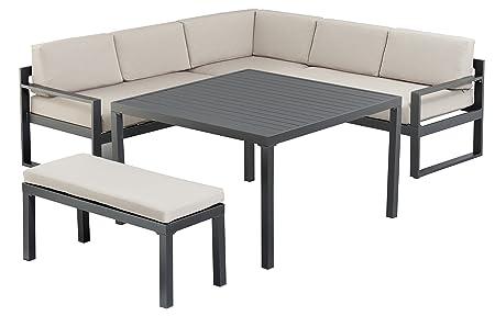 Kettler Advantage Set di mobili da giardino, Set angolare Ocean Casual Dining, colore antracite con cuscini, multicolore