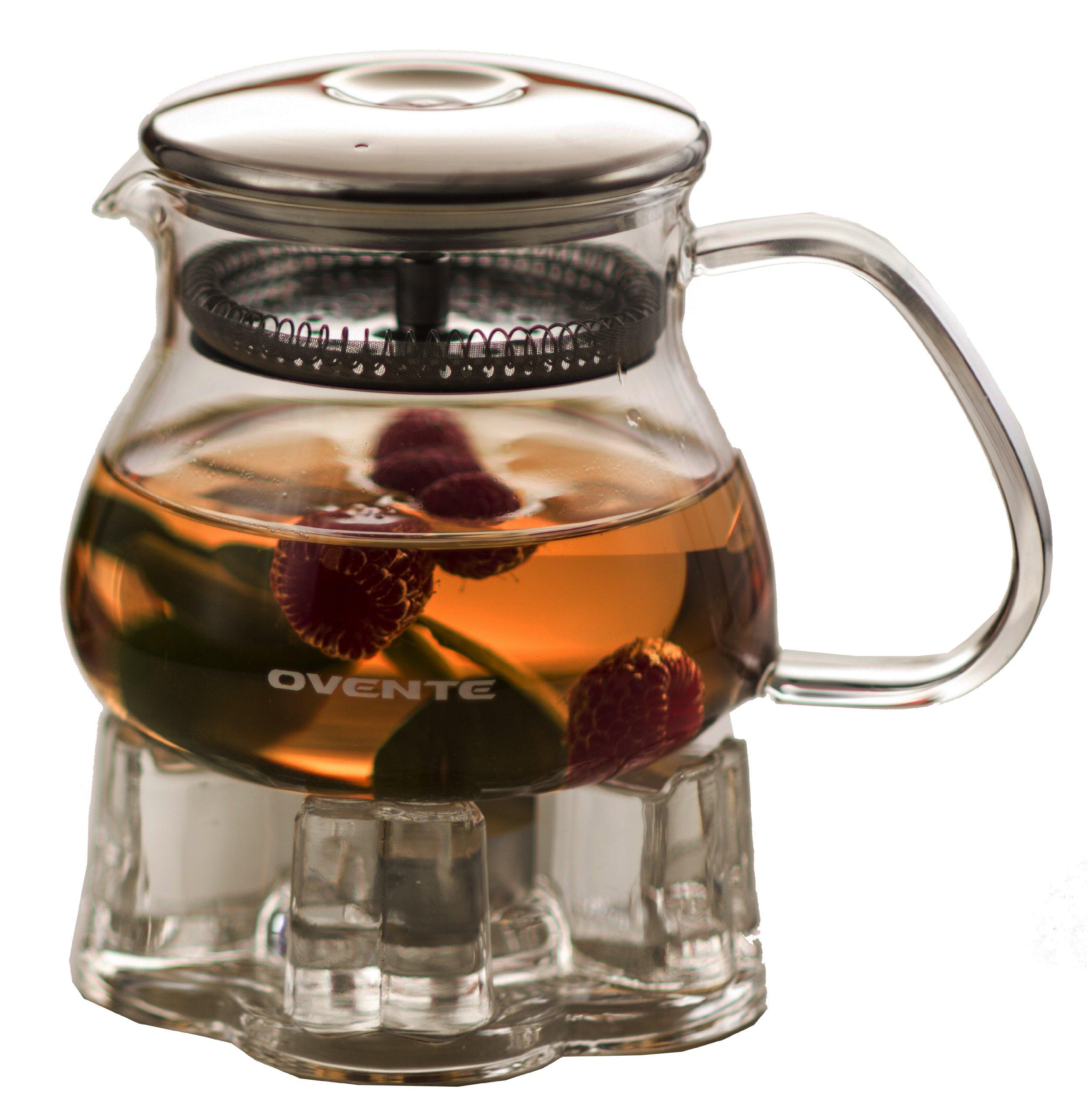 new glass teapot tea light warmer base mesh filter water. Black Bedroom Furniture Sets. Home Design Ideas