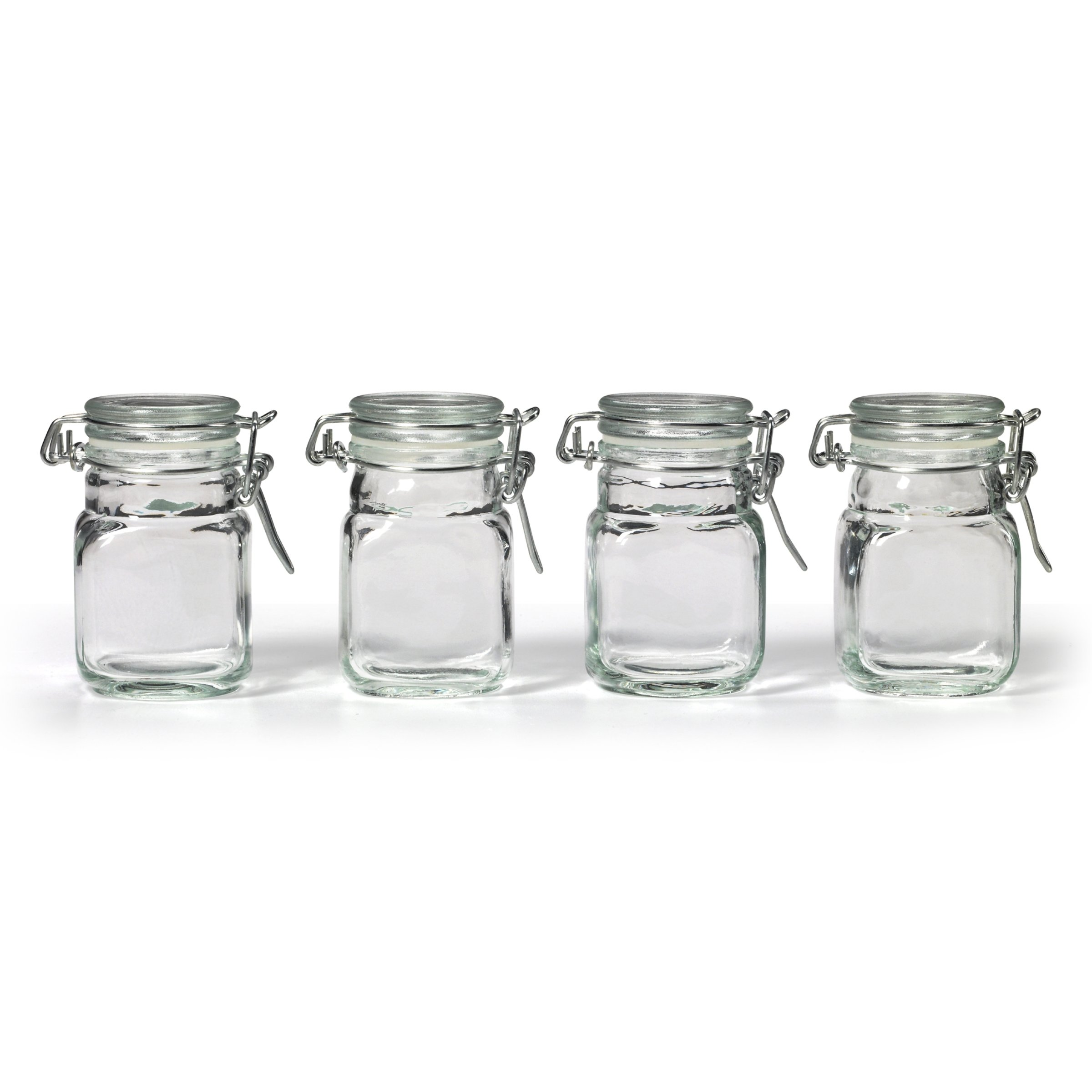 NEW Square Glass Jar & Hinge Lid Set 4 Piece Kitchen