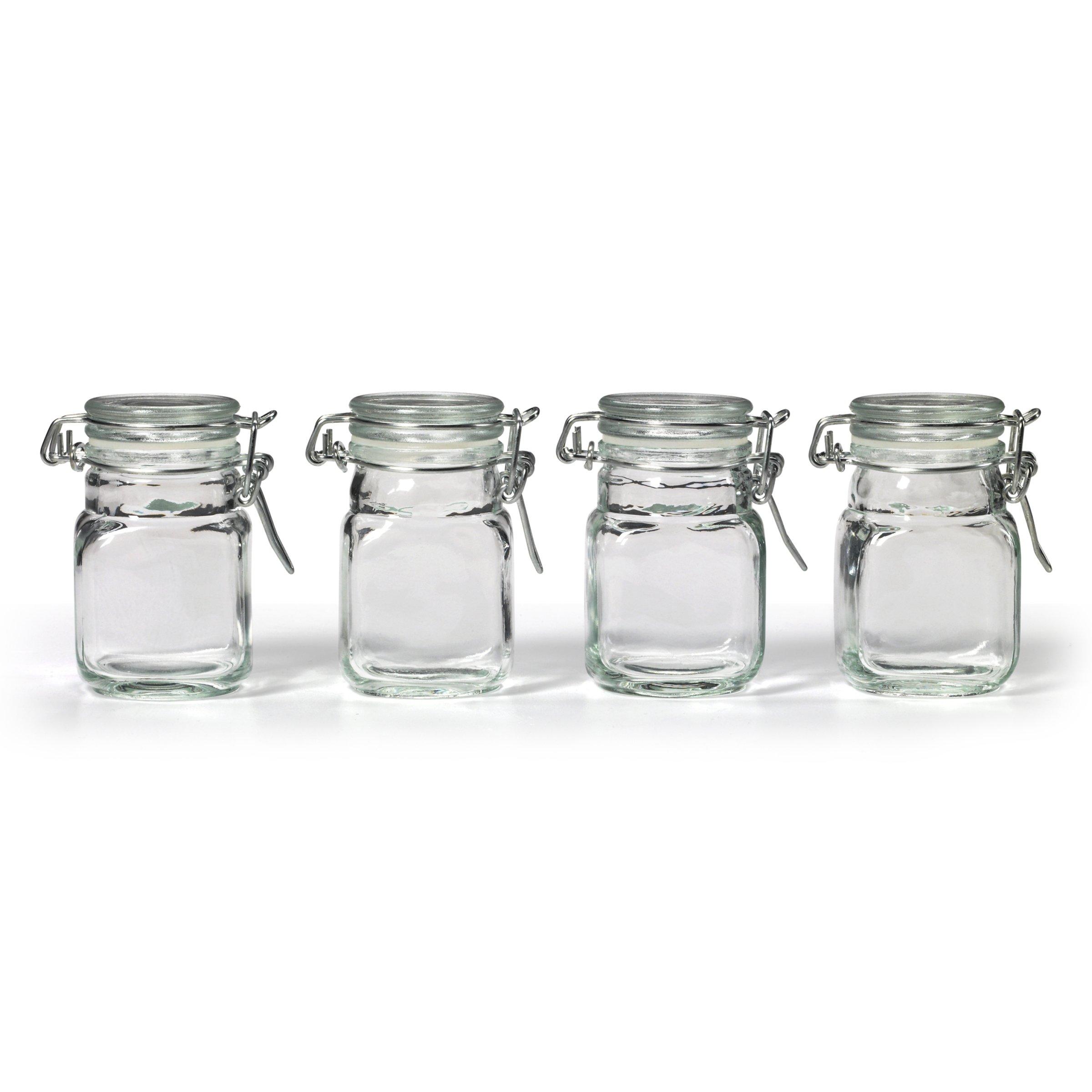 New Square Glass Jar Hinge Lid Set 4 Piece Kitchen