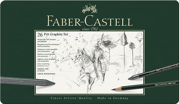 Faber Castell Pitt Graphite Tin Set of 11 Artists Sketching Drawing Set.