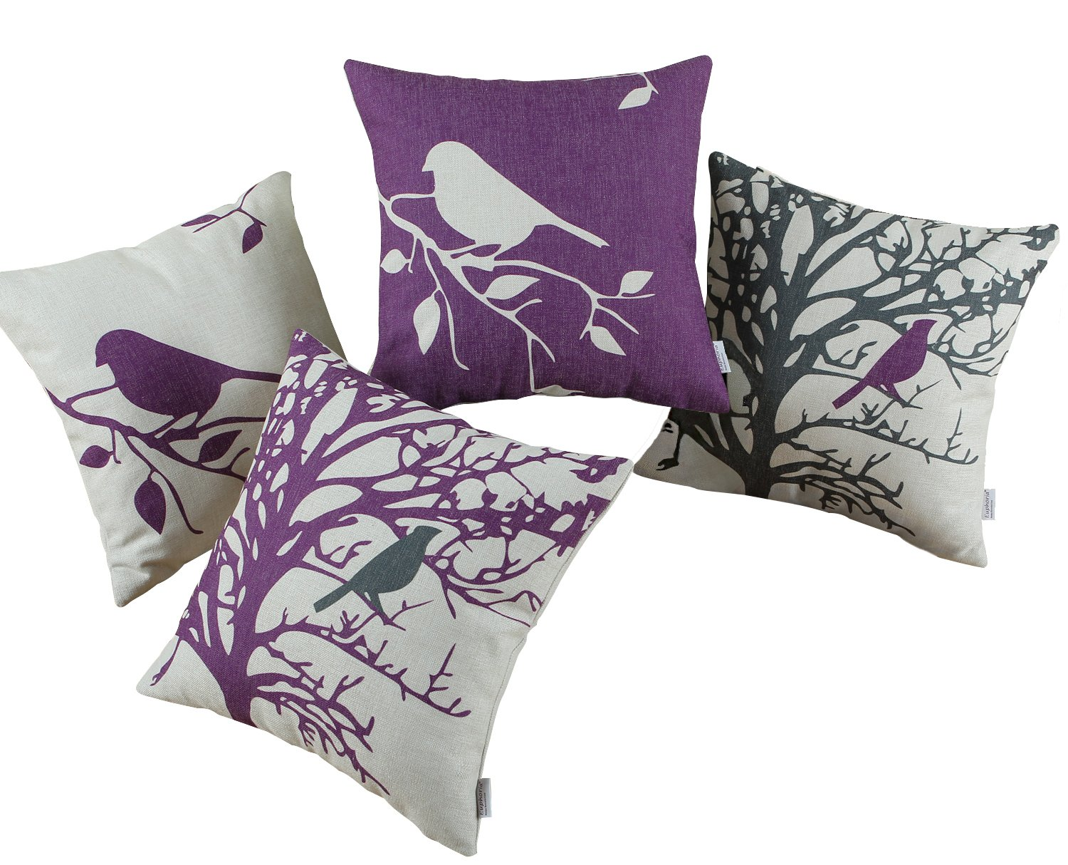 SET OF 4 Euphoria Home Decor Cushion Covers Pillows Shell Cotton Linen Blend Vintage Black Purple Bird Branches Tree Combo Set