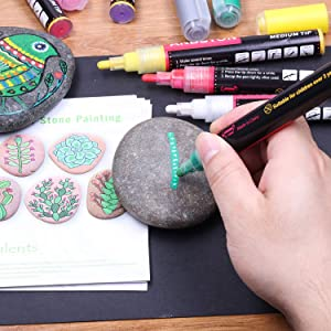 Paint pens for Rock Painting, Stone, Glass, Metal and Ceramic Works on Almost All Surfaces Set of 18 Vibrant Medium tip Oil Paint Marker Pens, Quick Dry, Water Resistant (Color: 18 Color, Tamaño: 18 pack)