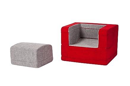 HOMEMANIA Chaise Longue Modulare Brownie Rosso/Grigio