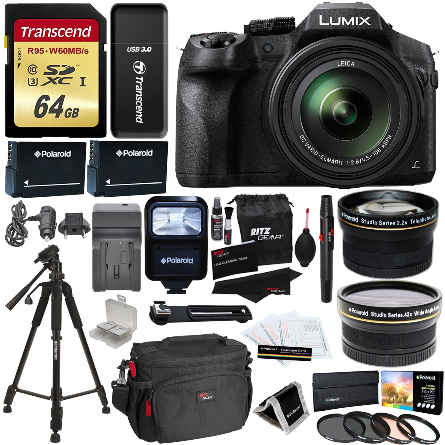 Panasonic FZ300 LUMIX DMC 4K Point & Shoot Camera Leica DC Lens 24X Zoom + Wide Angle & Telephoto Lens + 64GB + 57'' Tripod + Ritz Gear Bag + 2 Batteries + Charger + Filter + Polaroid Accessory Kit