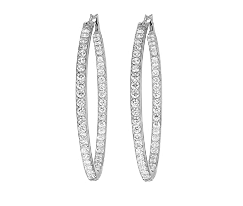 Myia Passiello Platinum Plated Sterling Silver Essentials Swarovski Zirconia Clear Hoop Earrings of 1.5 inch