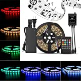 SUPERNIGHT 5M/16.4 Ft 5050SMD RGB Music Controlled 300 LEDS Strip Light Kit Waterproof Flexible LED Light with Music Controller Sound Sense Controller + 12V 5A Power Supply (Color: Strip+music Remote+power)