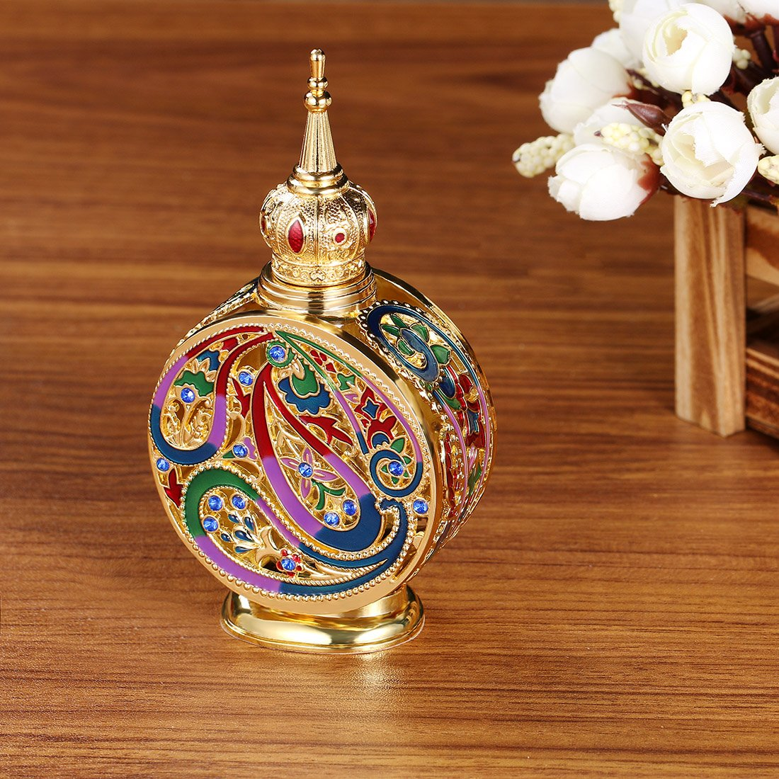 H&D Vintage 18ml Empty Refillable Egyptian Style Enameled Metal and Glass Perfume Bottle 4