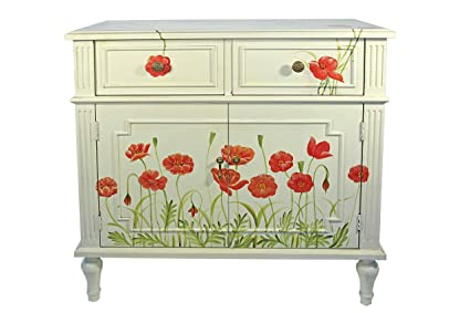 Casa Collection / Art for Living by Jänig 11085 Chest with Poppies - 2 Drawers and 2 Doors - 81 x 78 x 40 cm