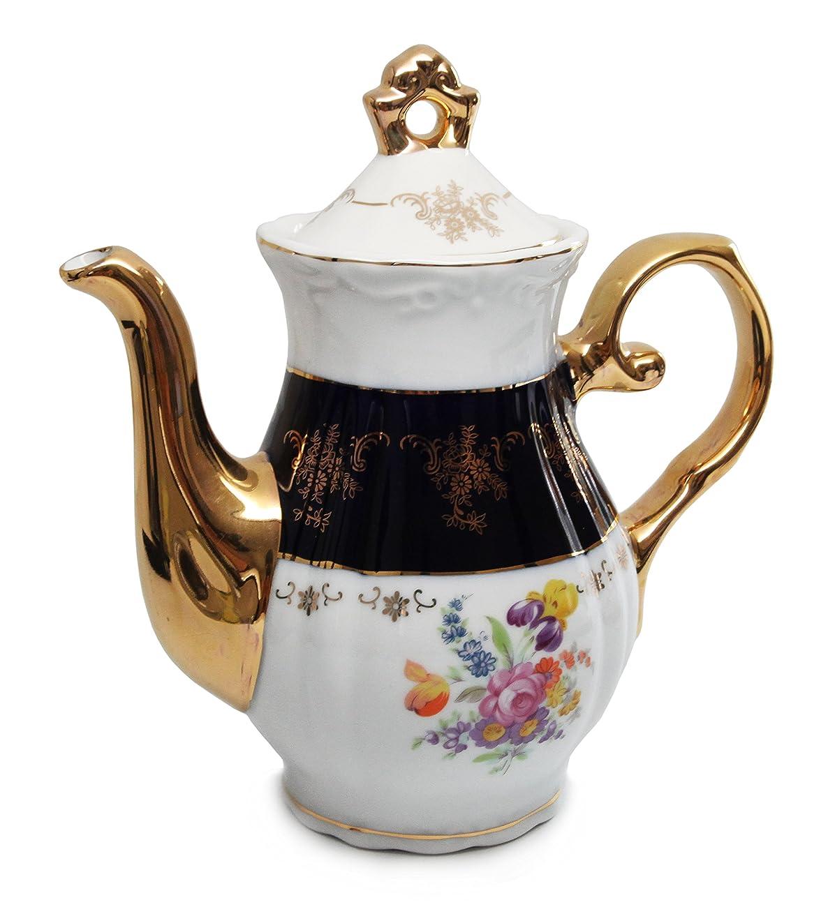 Royal Porcelain 17pc Flower-Patterned Dark Blue Tea Set, 24K Gold-Plated Original Cobalt Tableware, Service for 6 1