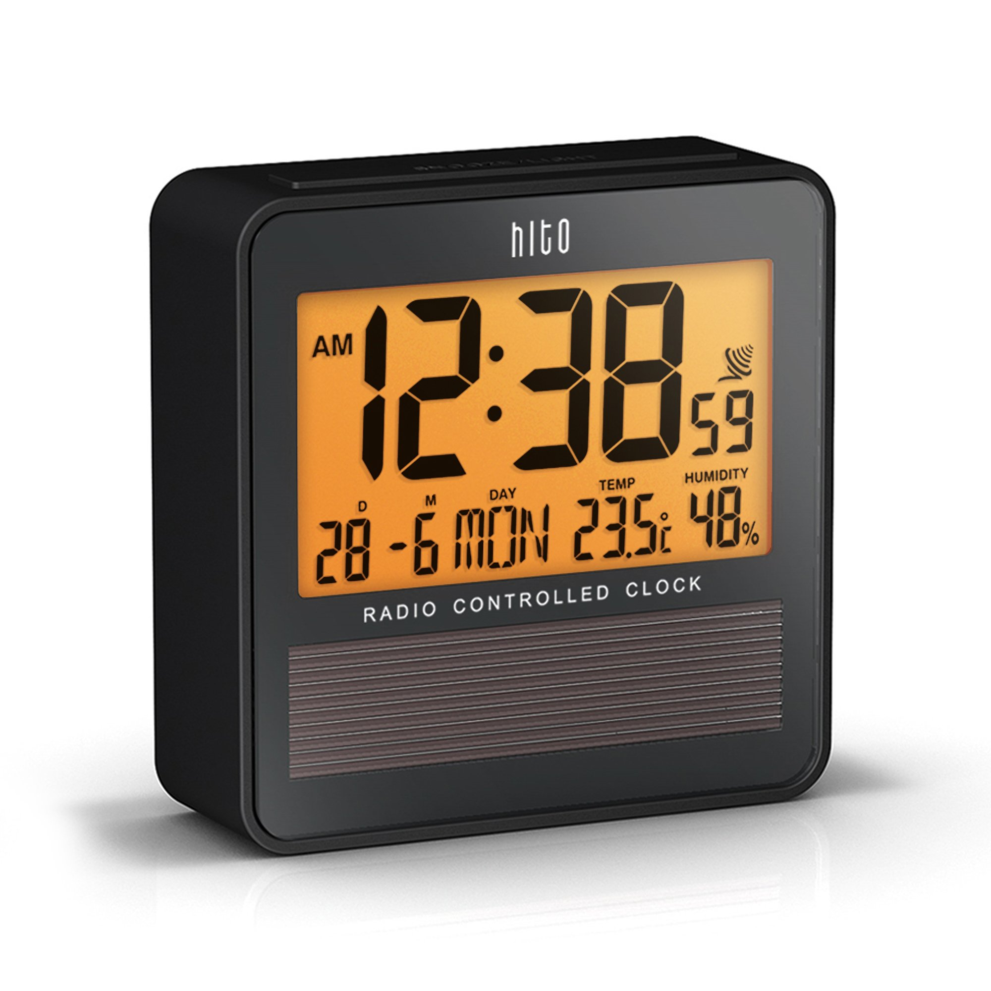 hito atomic radio controlled travel alarm clock w date temperature humidity ebay. Black Bedroom Furniture Sets. Home Design Ideas