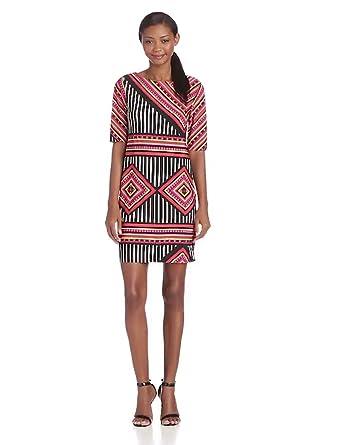 Tiana B Women's Printed Elbow Sleeve Jersey Sheath Dress, Multi, X-Large