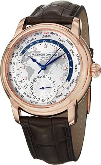 Frederique Constant Men's FC718WM4H4 World Timer Analog Display Swiss Automatic Brown Watch