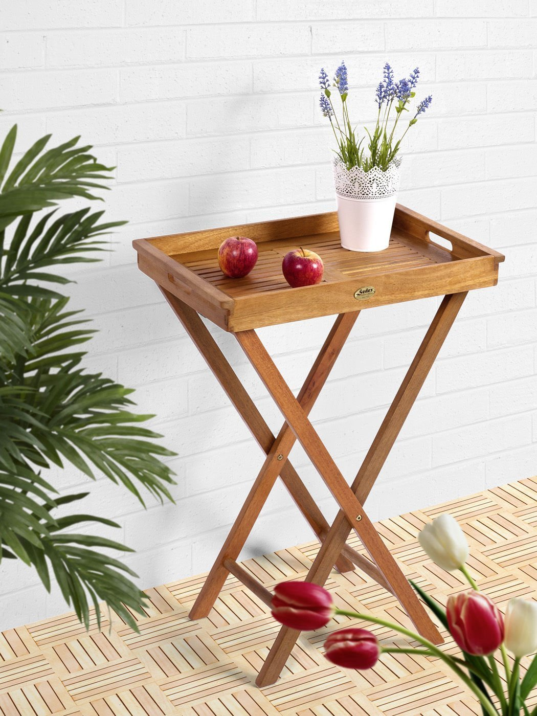 alkon Klapptisch BISTRO FSC Eukalyptus, natur geölt, abnehmbares Tablett – Modell DELHI günstig online kaufen