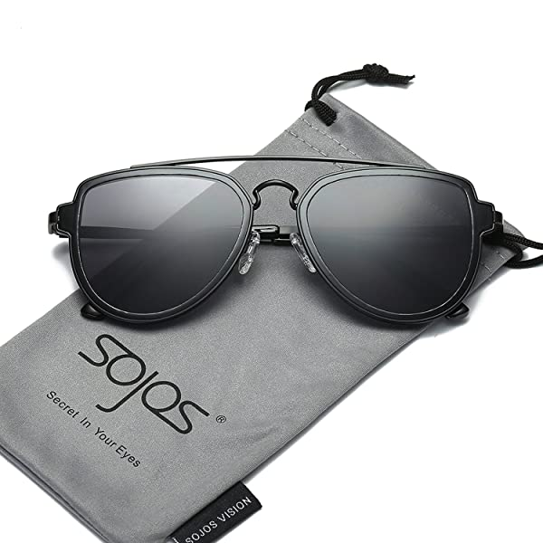 73df826d7d SojoS Fashion Aviator Unisex Sunglasses Flat Mirrored Lens Double Bridge  SJ1051 Black Frame Grey Lens
