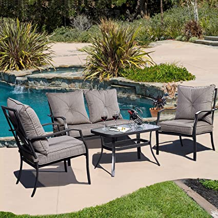 4 PCS Patio Furniture Sofa Set Tea Table&Chairs Outdoor Garden Pool Steel Frame
