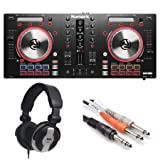 Numark Mixtrack Pro 3   USB DJ Controller with Trigger Pads & Serato DJ Lite Download (Includes Built-In Sound Card) + Headphones + 1/4 inch TRS to Dual 1/4 inch TS Insert Cable,- Top Value Bundle