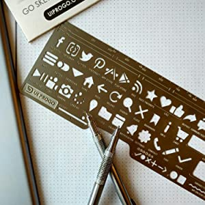 UI PROGO Stainless Steel Stencils for Portable Drawing - Perfect for UI UX Design Material - Large Icons for Easy Stenciling - Includes Social Media Icons - Webstencil