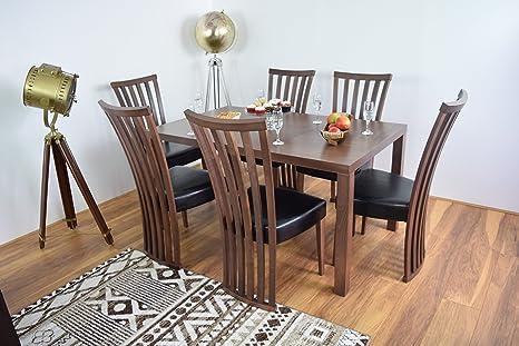Mesa de comedor y 6sillas Juego de vajilla de madera maciza Muebles de Cocina Moderno rectangular de madera Conjuntos de mesas Contemporáneo Diner