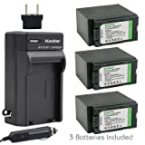 Kastar Battery 3x + Charger for Panasonic CGR-D54S and AG-3DA1 AG-AC90 AG-DVC30 AG-DVC32 AG-DVC33 AG-DVC60 AG-DVC80 AG-DVX100 AG-HVX200 HDC-Z10000 NV-DS29 NV-DS50 NV-GX7 NV-MX5 NV-MX5000 AG-HRX200 (Color: 09 (COMBO: 3 BATTERIES + 1 NORMAL CHARGER KIT))