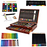 Milo 142 pc Complete Coloring Art Supply Wood Box Set Kit with Colored Pencils, Crayons, Oil Pastels, Watercolor Paint, Brushes, Sketch Pencils for Arts and Crafts Supplies, Coloring Books