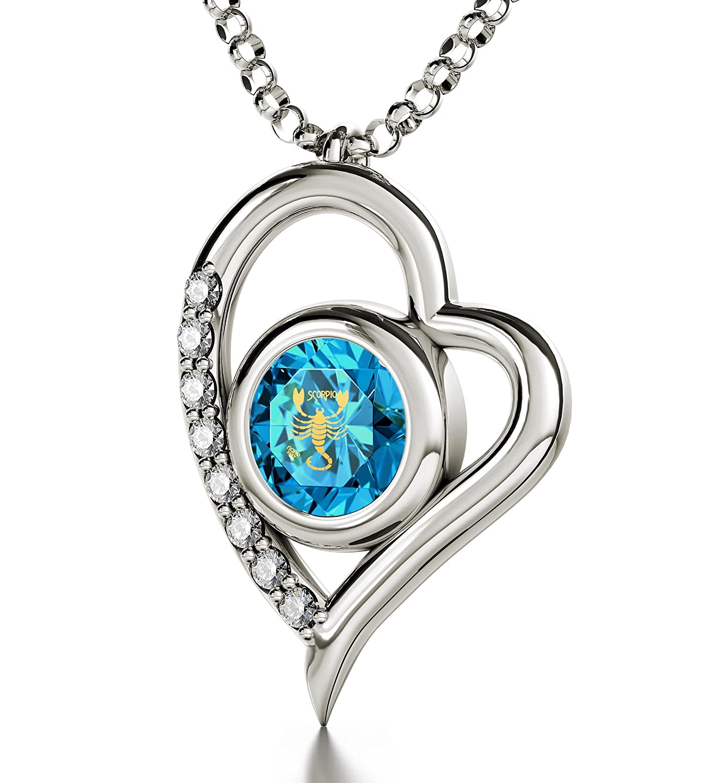 Silberne Skorpion-Halskette - Herz-Anhänger - Topasblauer Zirkonia mit Beschriftung in 24k Gold - Astrologie-Schmuck - Sternzeichen-Amulett