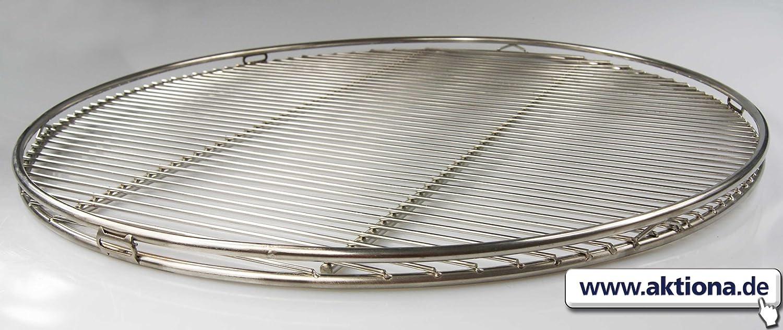 Edelstahl Grillrost 60cm rund Doppel-Reling / Schwenkgrill , Qualitätsedelstahl V2A mit 3 Aufhänge-Ösen, stabile & schwere Ausführung aus 8mm Vollmaterial online kaufen