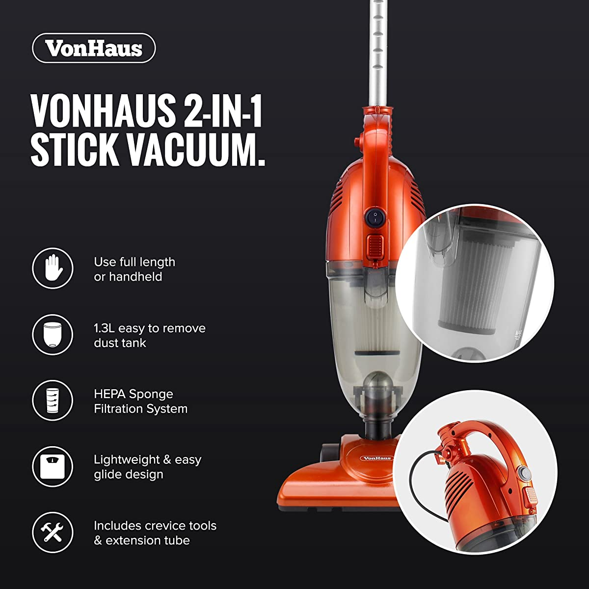 VonHaus 600W 2-in-1 Corded Upright Stick & Handheld Vacuum Cleaner with HEPA Filtration - Includes Crevice Tool & Brush Accessories